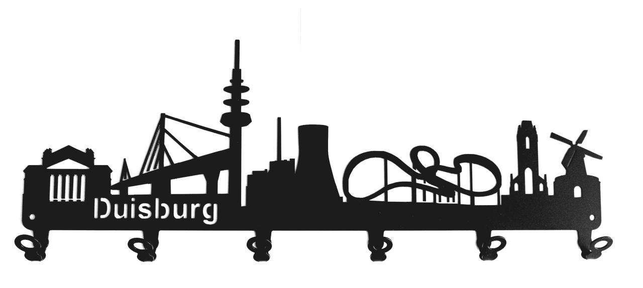 steelprint.de Schl/üsselbrett//Hakenleiste * Skyline Freiburg * im Breisgau schwarz Metall 6 Haken Wandhaken Baden-W/ürttemberg Schl/üsselleiste